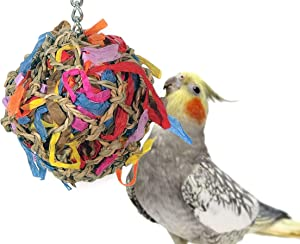 Sweet Feet and Beak Super Shredder Ball - Will Keep Your Bird Busy for Weeks - Creates Fun-Filled, No-Stress Time Foraging for Hidden Treasures - Non-Toxic - Easy to Install