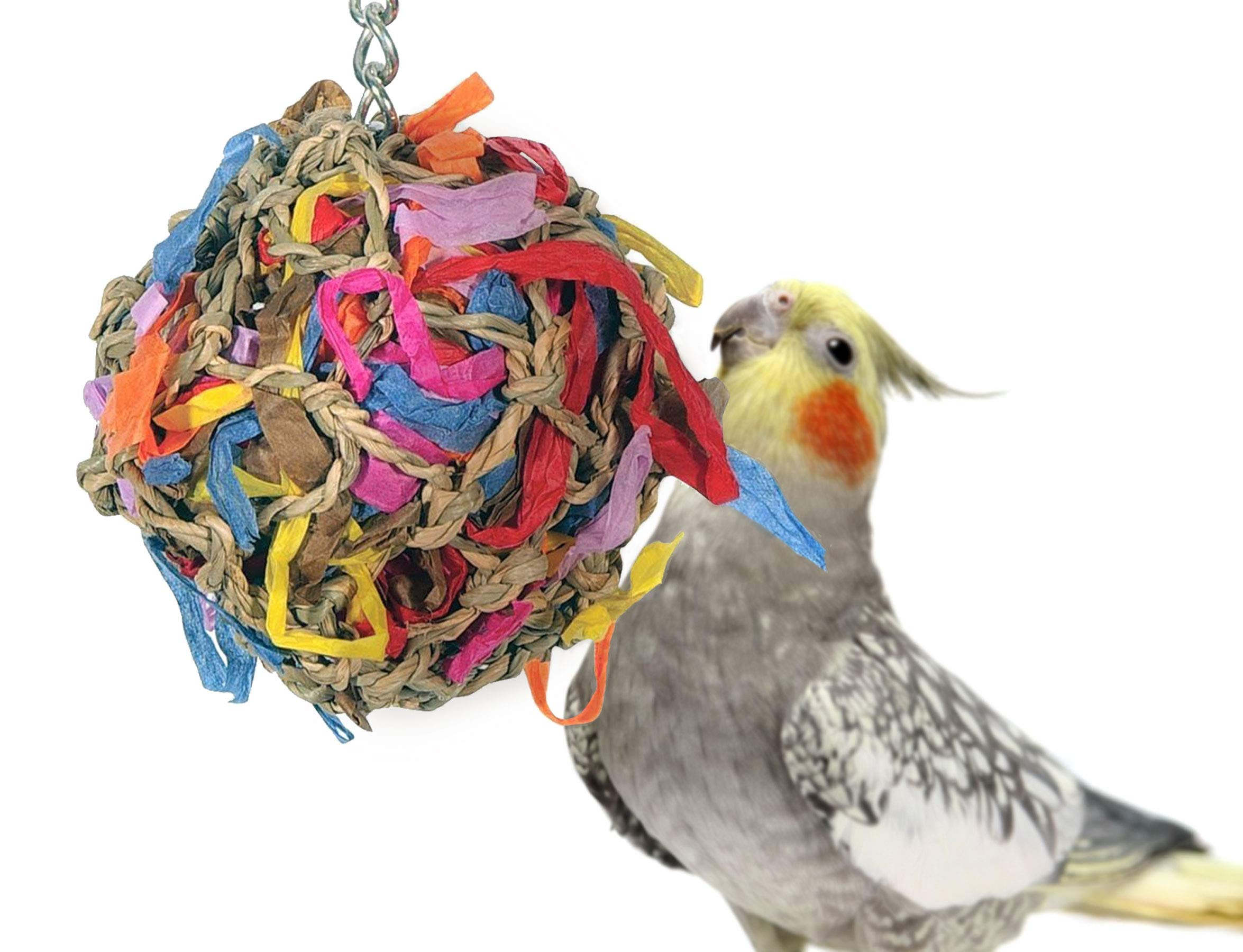 Sweet Feet and Beak Super Shredder Ball - Bird Cage Accessories to Keep Your Bird Busy Foraging for Hidden Treasures - Non-Toxic, Easy to Install Bird Foraging Toys, Bird Treats, Parrot Toys