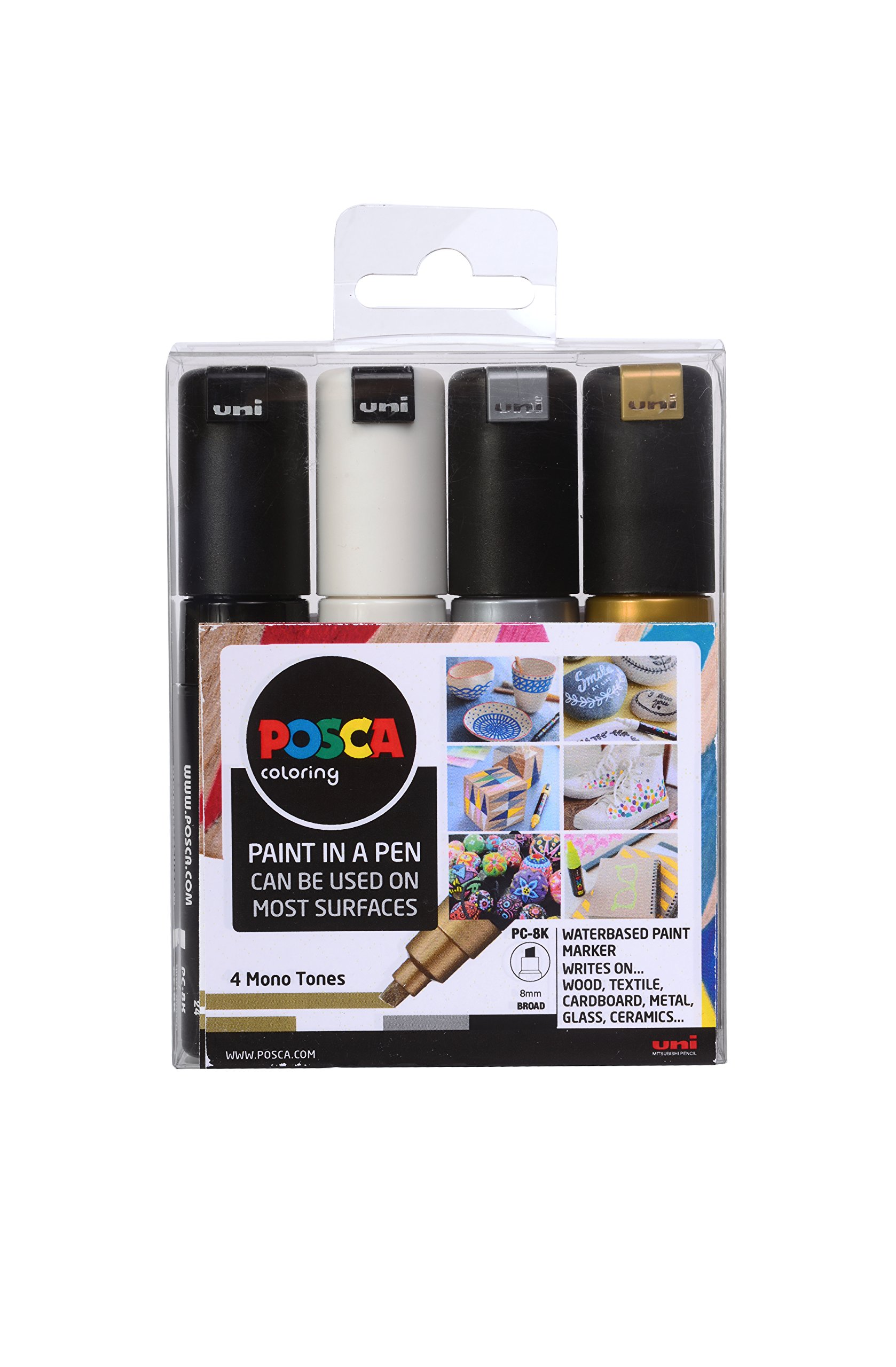 POSCA 153544853 8 mm Broad Chisel Acrylic Tip Waterbased Paint Marker - Assorted Colours (Pack of 4)