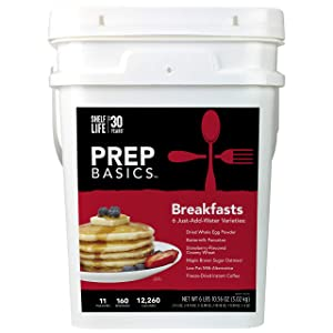 Prep Basics Breakfast Variety | Emergency Food Supply | 12,260 Total Calories | 404 Total Grams Protein | Up to 30 Year Shelf Life | 11 Sealed Pouches