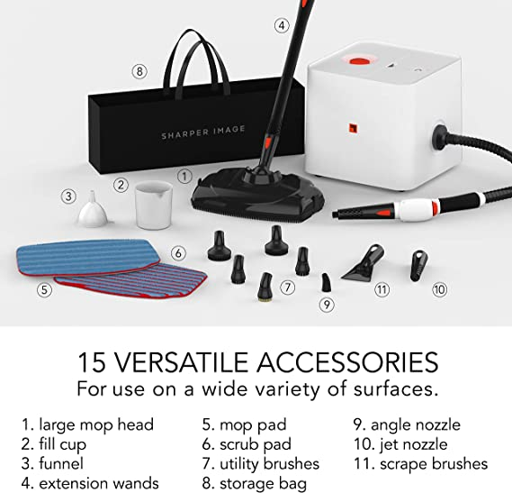 Sharper Image SI-380 Canister Steam Cleaner with 15 Accessories White