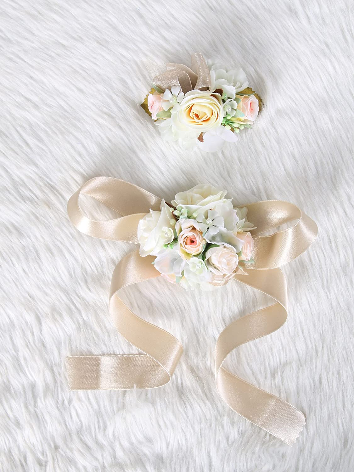 Beige theme Wedding Prom Wrist Corsage Silk rose and Boutonniere Set Pin Ribbon Included