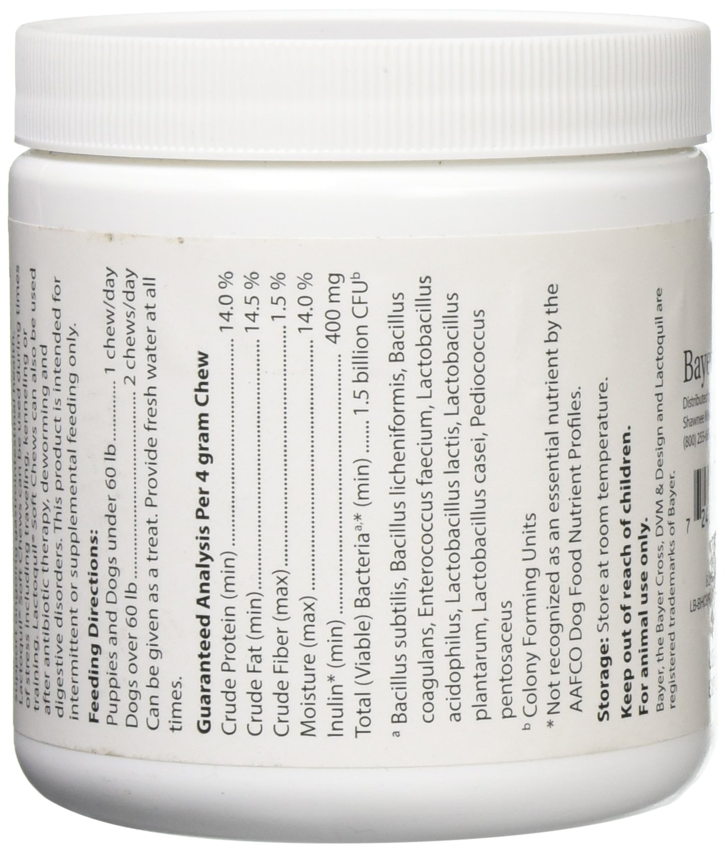 Bayer Lactoquil Soft Chews, Daily Digestive Probiotic Supplement, contains naturally derived ingredients for dogs of all ages, sizes and breeds, 75ct by Bayer Animal Health (Image #4)