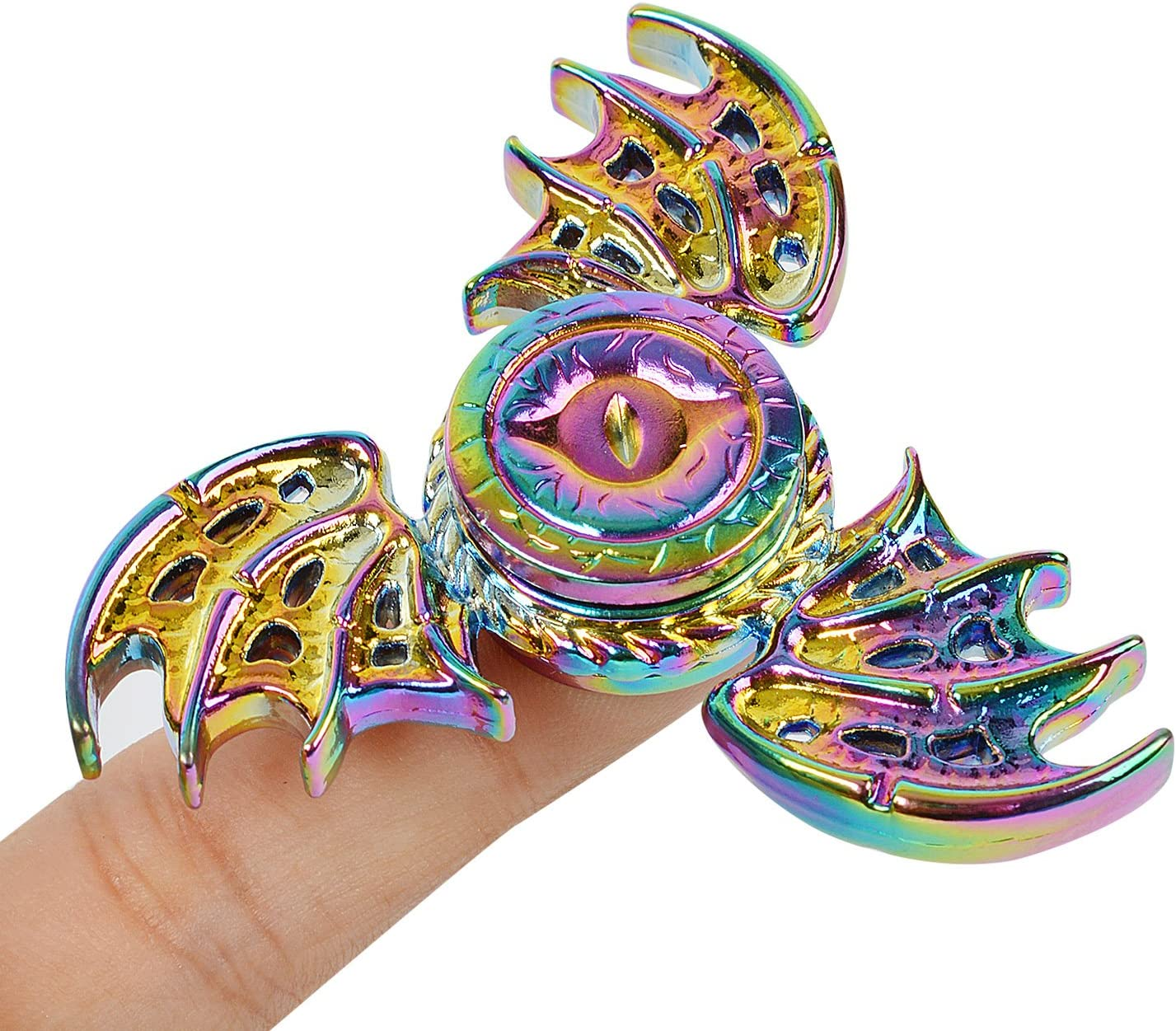 Phoenix Cool Dragon Snitch Fidget Hand Spinners Metal Fly Wing Focus Toy Stainless Steel Fingertip Gyro Stress Relief Spiral Twister ADHD EDC Toy Party Favors Birthday Gift for Kids Adults(Rainbow)
