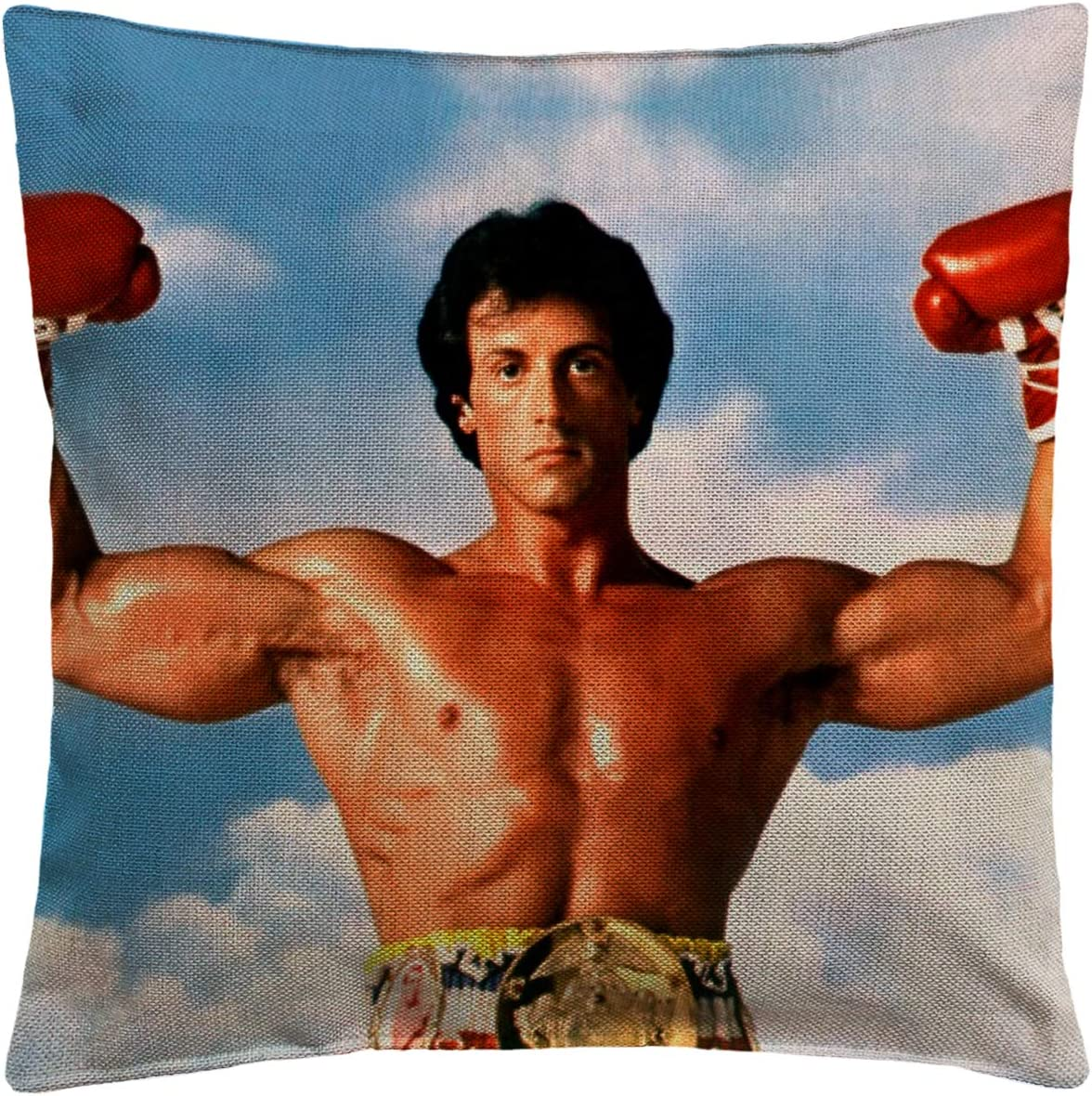 Balboa Rocky Boxing Funny Pillow, Throw Pillow for Home Office Decor, Cover Linen Lined Pillow Case, Cute Decorative Couch Pillow, House Warming Presents (Cover + Insert)