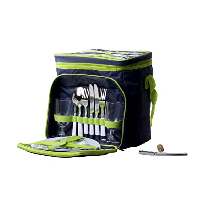 Imperial Home Insulated Picnic Basket - Lunch Tote Cooler Backpack w/Flatware Two Place Setting : Garden & Outdoor