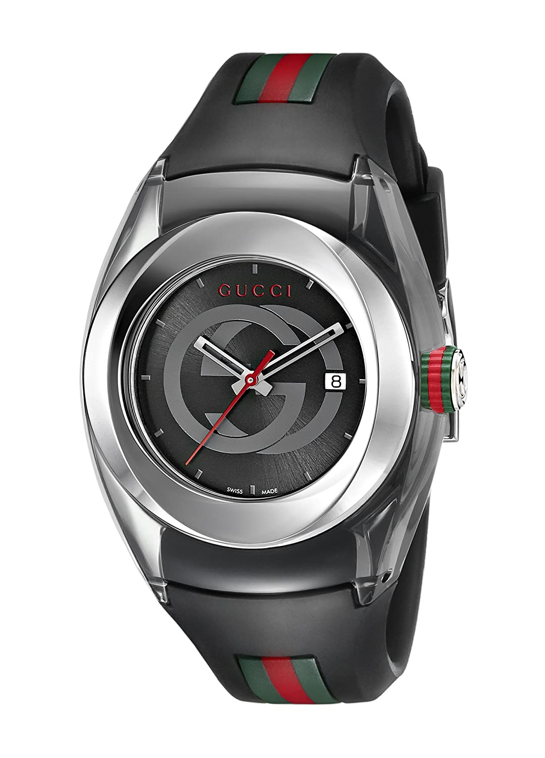 Amazon.com: Gucci SYNC L Stainless Steel Watch with Black Rubber Band(Model:YA137301): Watches