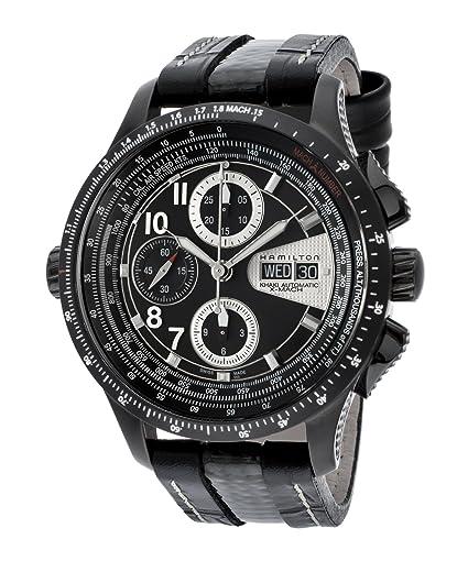 Hombres de caqui x-mach automático cronógrafo negro Dial Negro Piel: Amazon.es: Relojes