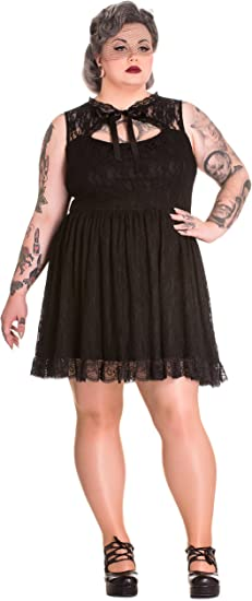 Spin Doctor Plus Size Black Gothic Lace Selena Rose Ruffle Mini Dress 2X 3X 4X