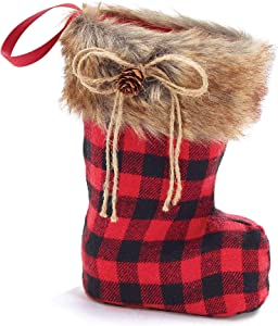 Burton and Burton 9733730 Santa Boot Shaped Vase Red/Black Plaid, Multicolor