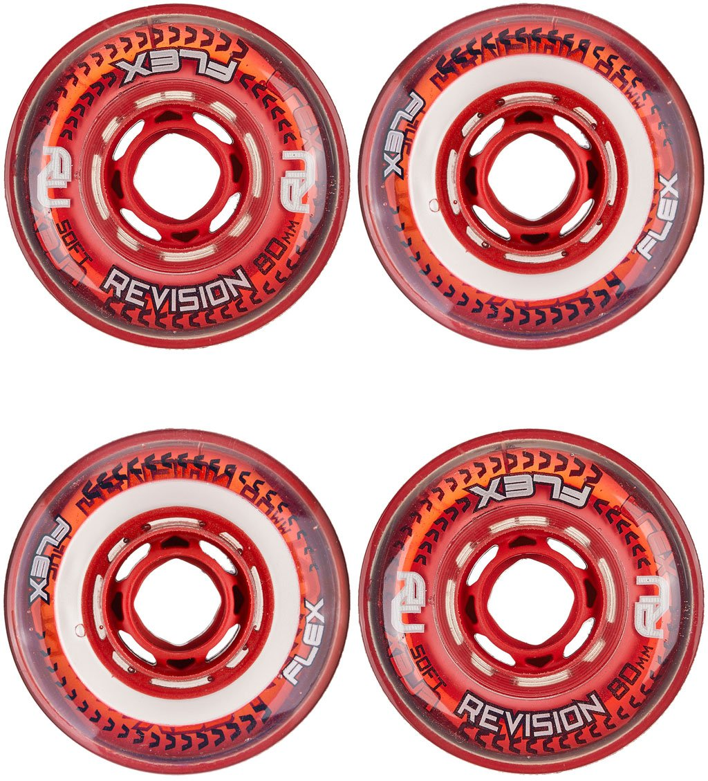 Revision Wheels Inline Roller Hockey Flex Soft Red/White 76mm 76A 4-Pack