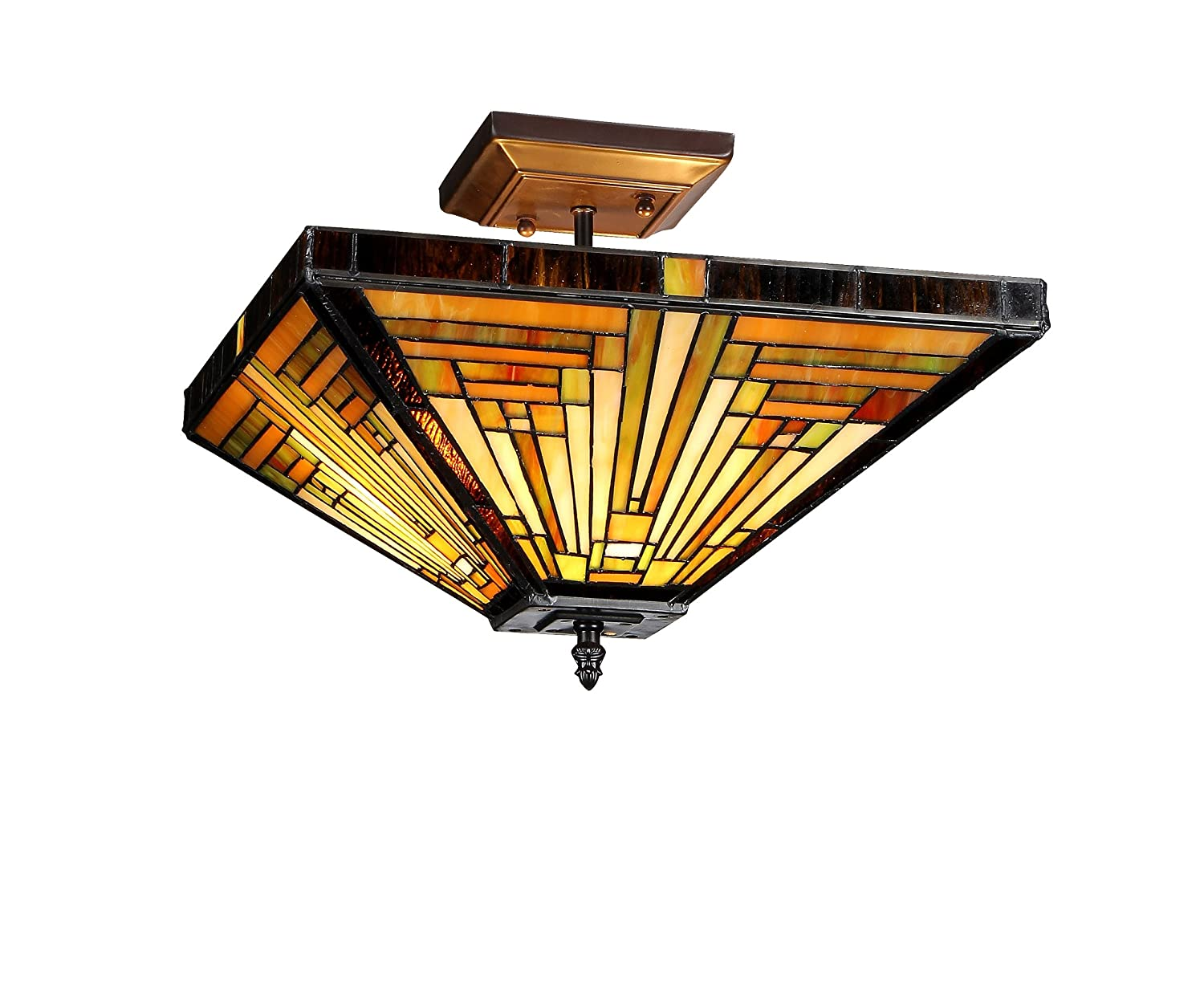 Chloe lighting chloe lighting innes 2 light tiffany style mission chloe lighting chloe lighting innes 2 light tiffany style mission semi flush ceiling fixture with 14 in shade close to ceiling light fixtures amazon aloadofball Choice Image