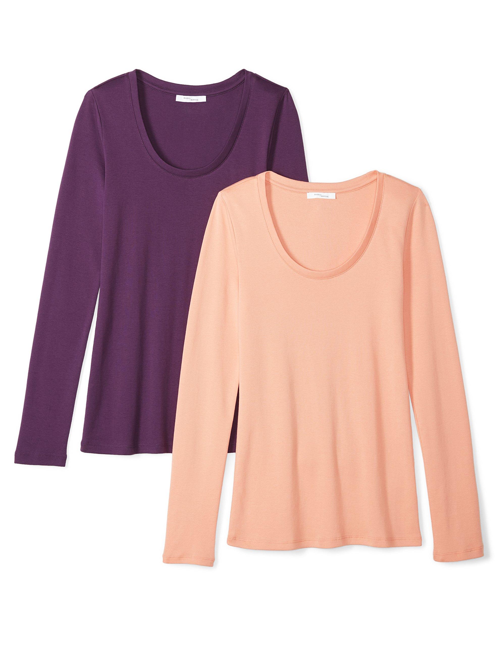 Daily Ritual Women's Midweight 100% Supima Cotton Rib Knit Long-Sleeve Scoop Neck T-Shirt, 2-Pack, L, Peach/Deep Purple