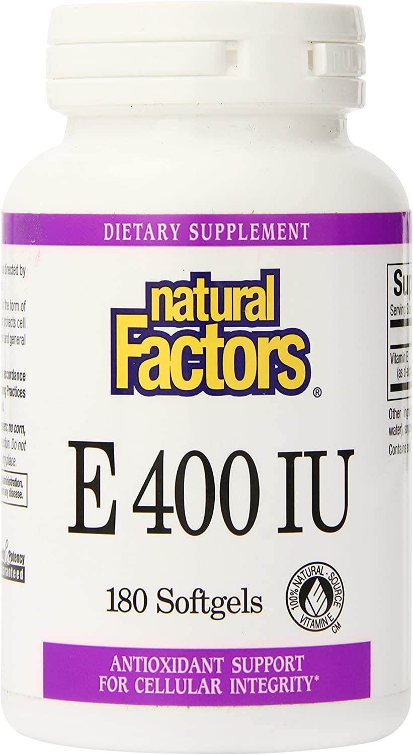 Natural Factors Vitamin E d-alpha Tocopheryl Acetate 400iu Softgels, 180-Count
