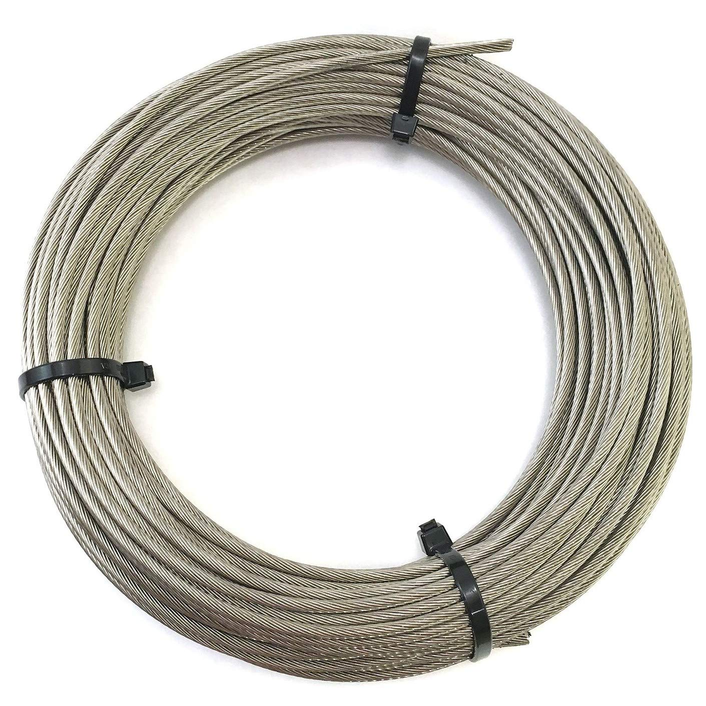 High Brightness Stainless Steel 316 Wire Rope Cable 3/16'' 7x19 by 50' Marine Grade