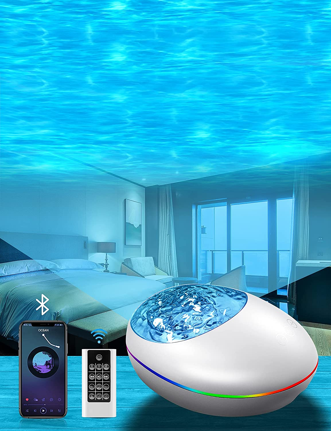 Galaxy Projector Star Projector for Bedroom, Night Light for Kids, Adults Skylight Ceiling Projector with Bluetooth Speaker Timer, Baby Lamp with White Noise, Party Light, Asthetic Room Decor, Remote
