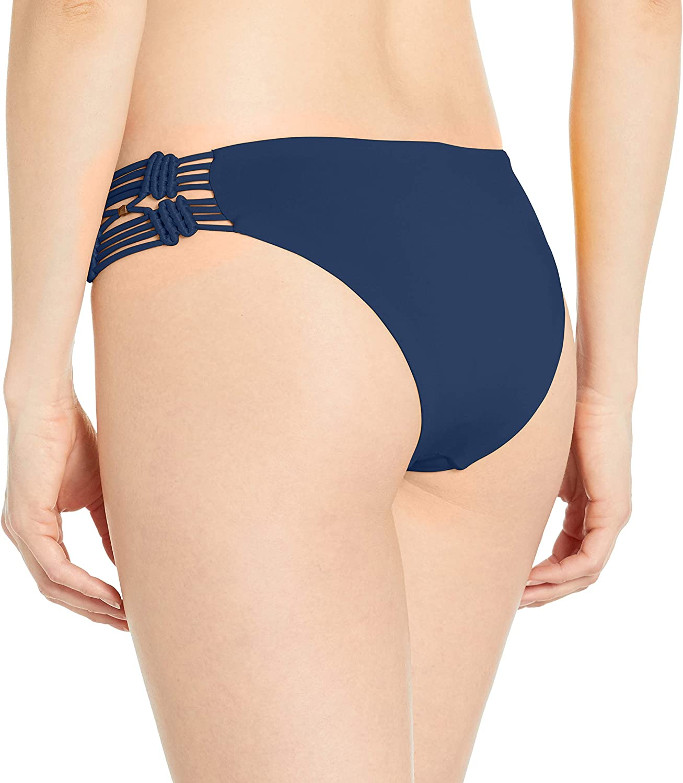 Dolce Vita Womens Solid Bikini Bottom with Macrame Side
