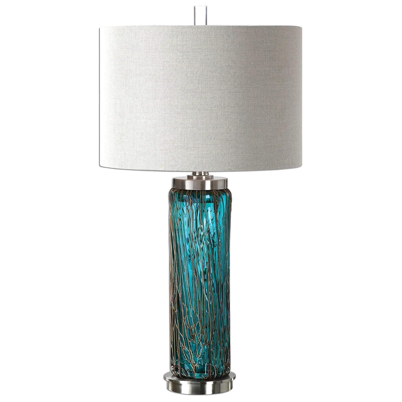 Blue Glass Table Lamp Bronze Sugar Spun Accents Beach Coastal Decor