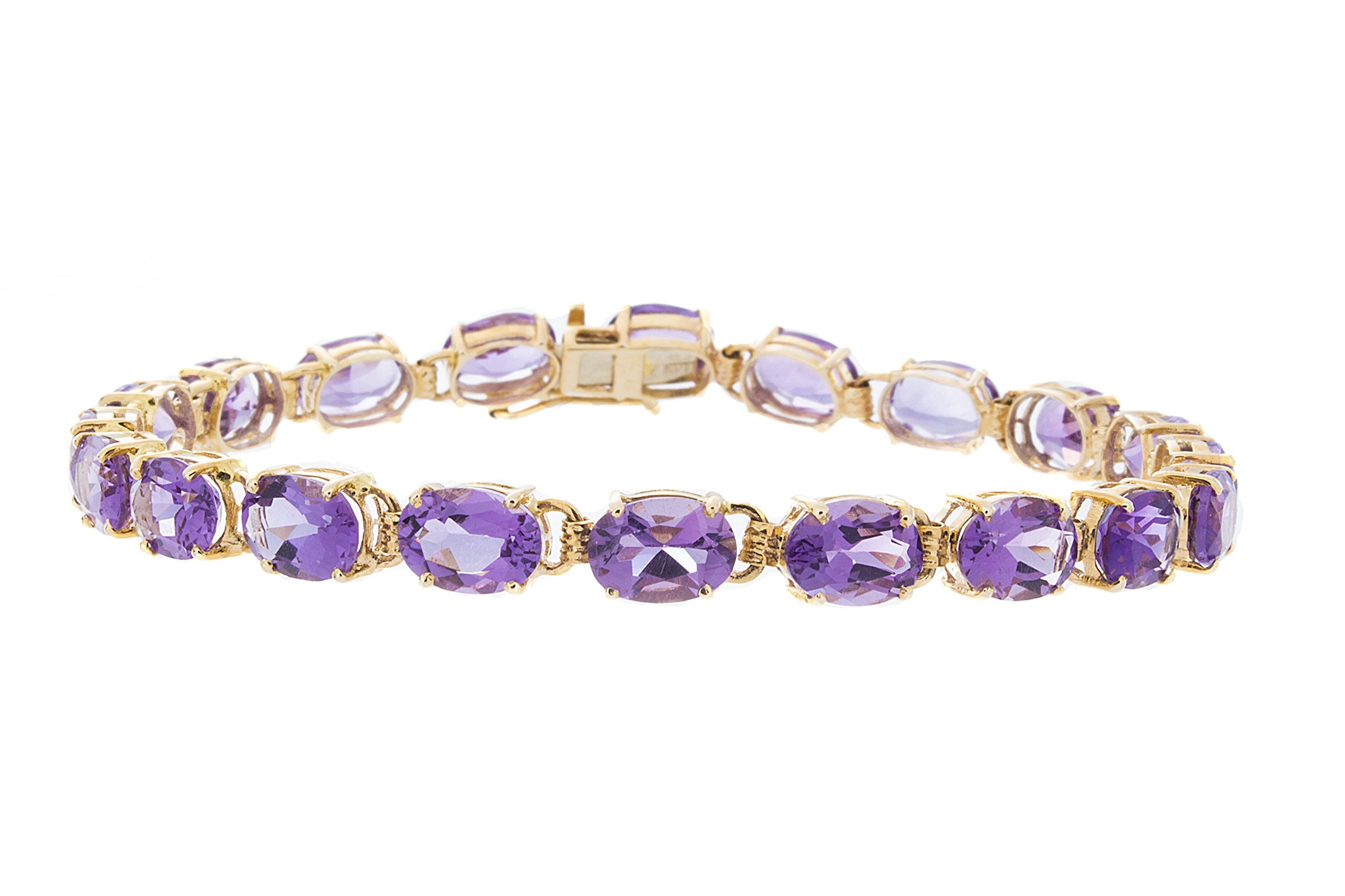 ISAAC WESTMAN 14K Yellow Gold Amethyst Tennis Bracelet, 7.25'' by ISAAC WESTMAN