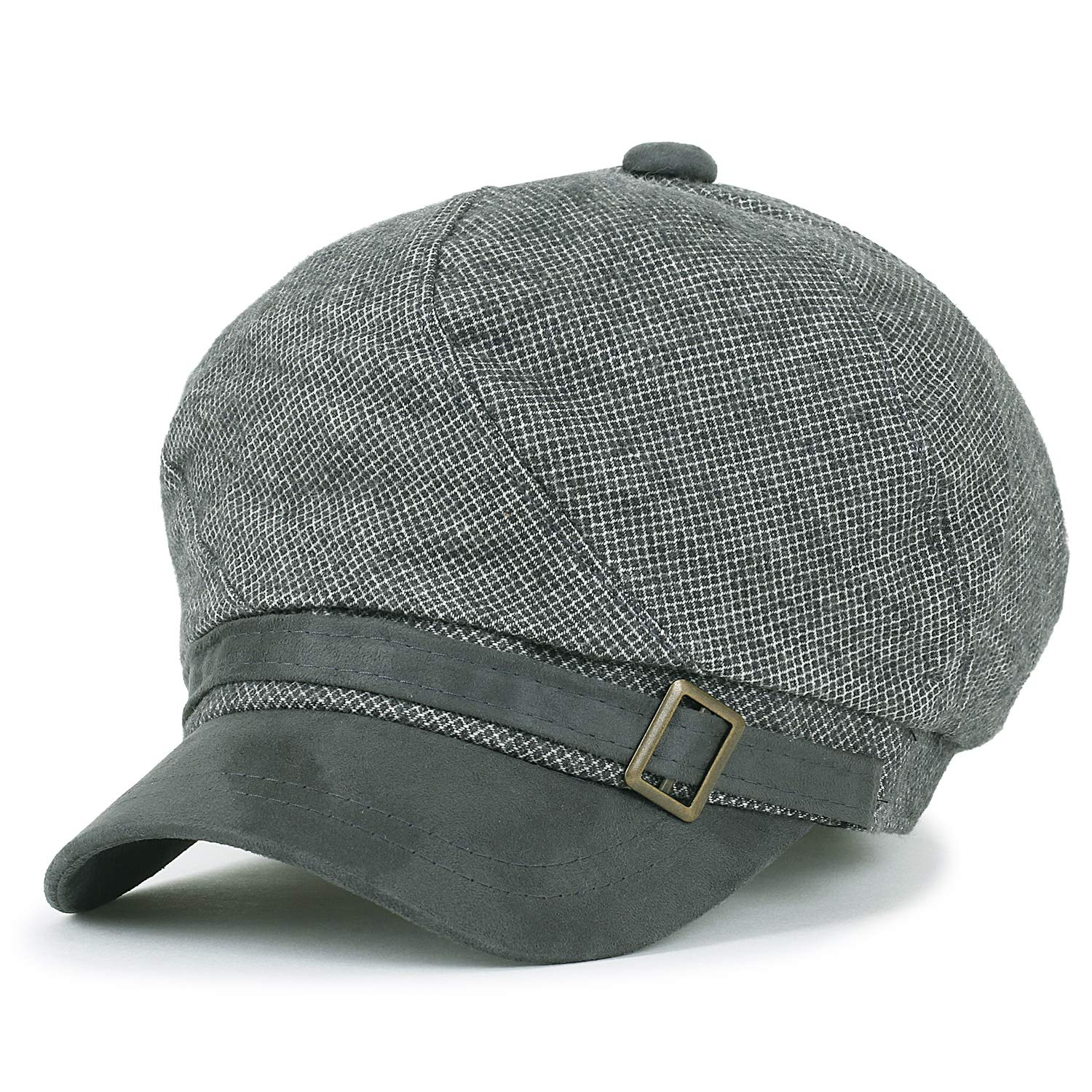 ililily Mixed Color Panel Newsboy Cabbie Cap Belted Ivy Flat Hunting Hat, Grey