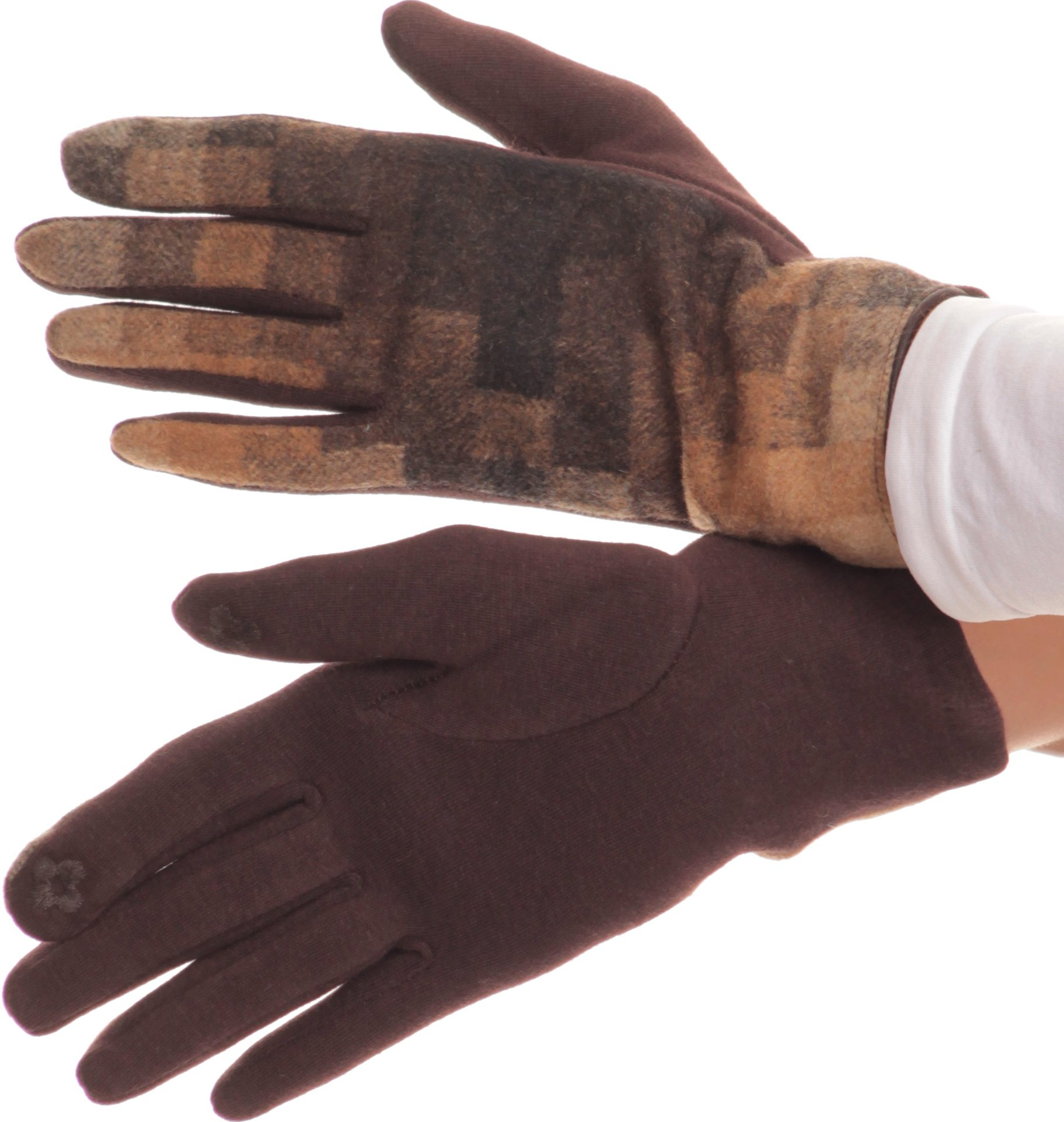 Sakkas 16168 - Kade Pixel Ombre Multi Colored Patterned Warm Touch Screen Winter Gloves - Brown - L/XL