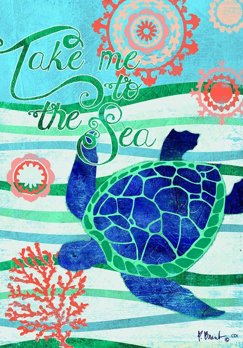 Custom Decor Take Me to the Sea - Turtle - Garden Size, 12 Inch X 18 Inch, Decorative Double Sided Flag