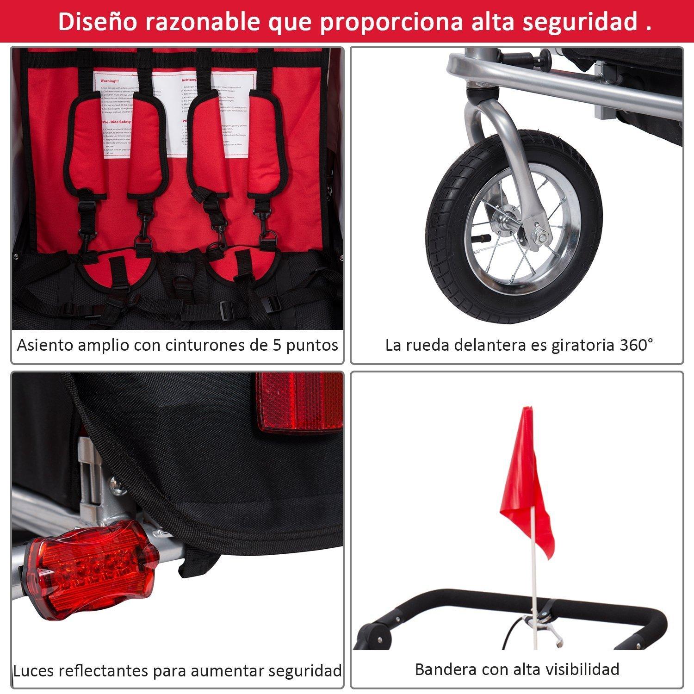 HOMCOM Remolque para Bicicleta tipo Carro con Barra de Paseo para ...