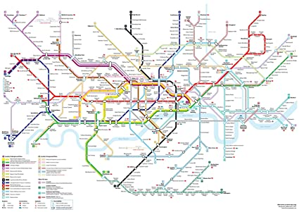Detailed Map Of London.Detailed London Underground Tube Map Giant Poster A5 A4 A3 A2 A1