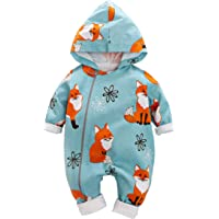 Yierying Baby Zipper Clothes Stylish Fox Design Long-Sleeve Hooded Jumpsuit for Baby