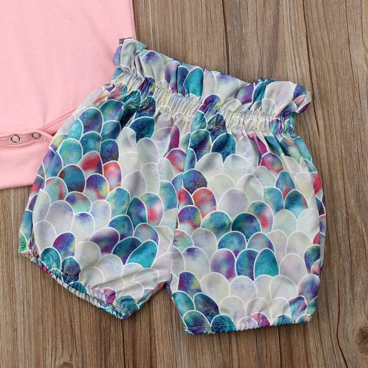 Infant Baby Girl Plain Ruffle Short Sleeve Cotton Romper Bodysuit Mermaid Shorts Headband Summer Clothes