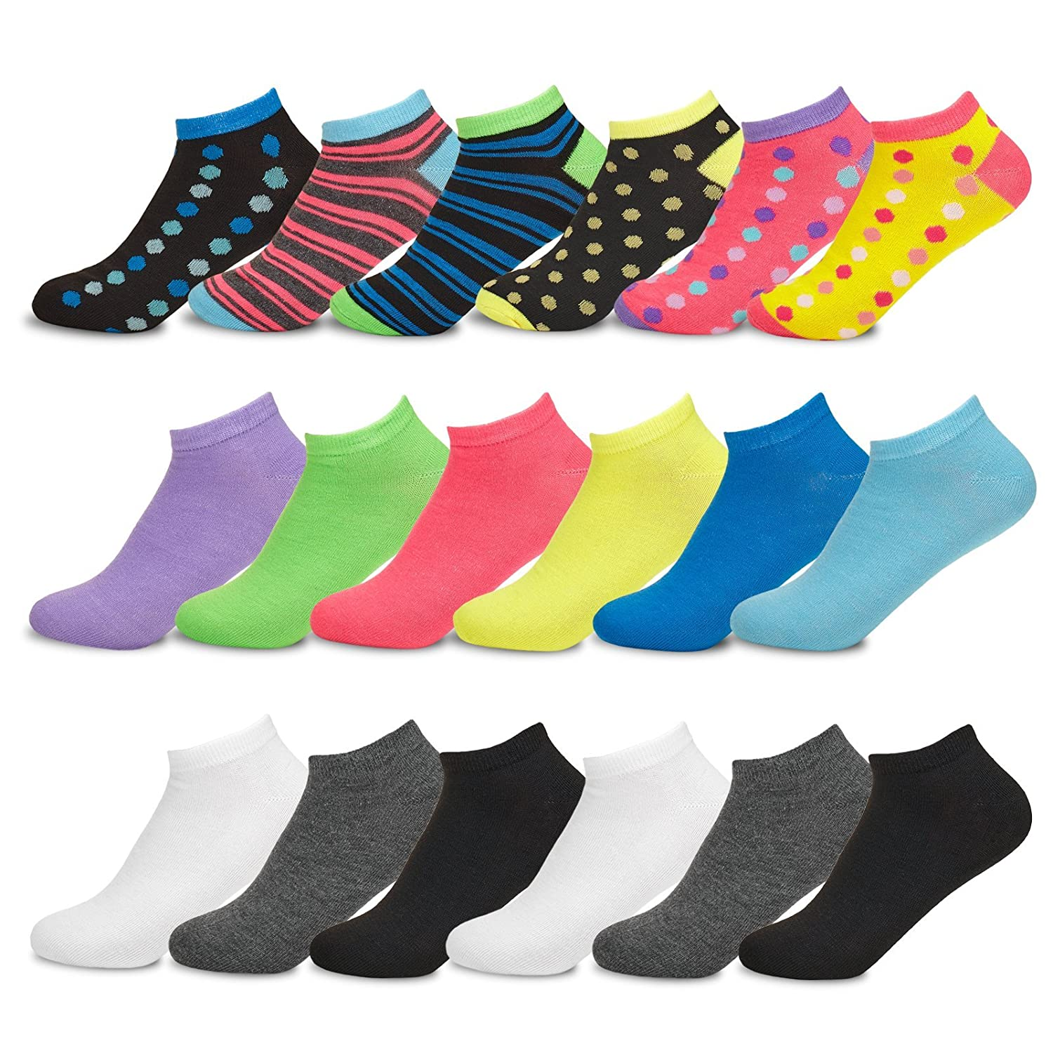 Women's No-Show Low Cut Socks - Sockletics by Hot Feet, Value Pack of 18 Pairs Stripes and Dots - Size 9-11 Shoe Size 4-10.5