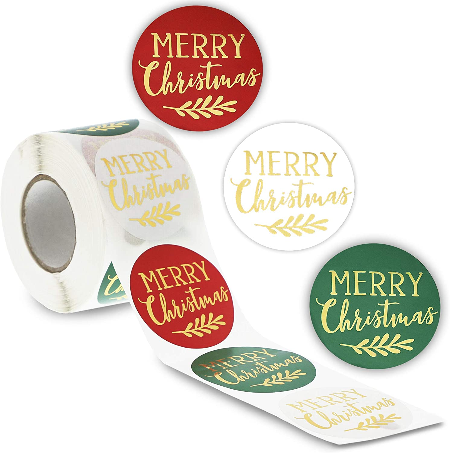 2 Inches, 500 Pieces Merry Christmas Gold Foil Envelope Stickers