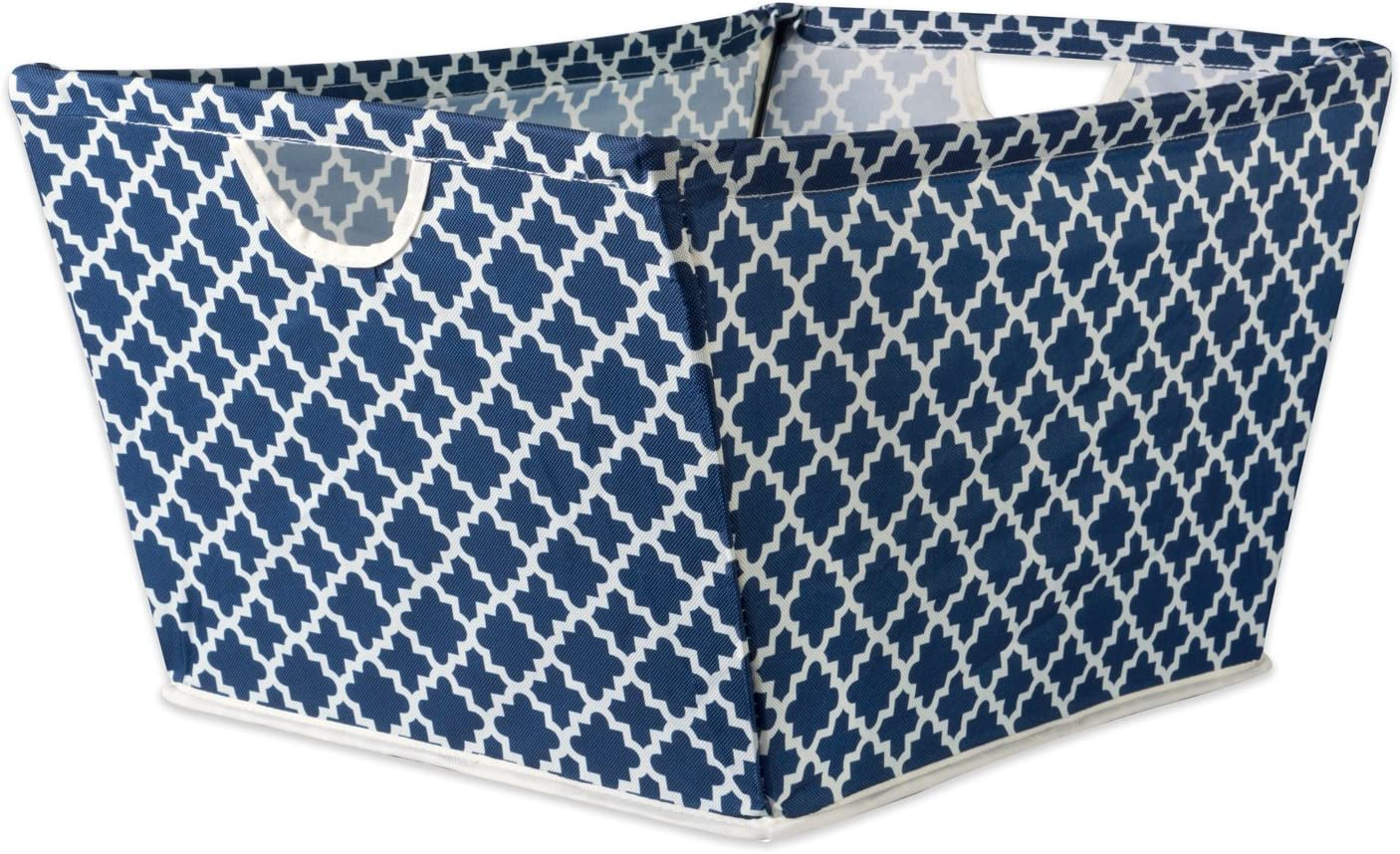 """DII Collapsible Polyester Trapezoid Storage Basket, Home Organizational Solution for Office, Bedroom, Closet, & Toys (Medium - 16x12x10"""") Nautical Blue Lattice"""