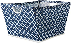 "DII Collapsible Polyester Trapezoid Storage Basket, Home Organizational Solution for Office, Bedroom, Closet, & Toys (Medium - 16x12x10"") Nautical Blue Lattice"