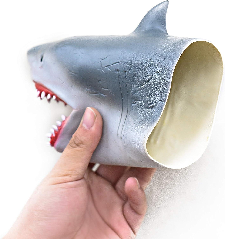 Yolococa Requin Marionnette T/ête danimal R/éaliste en Caoutchouc Souple Cadeaux Jouets pour Enfants Shark Puppets