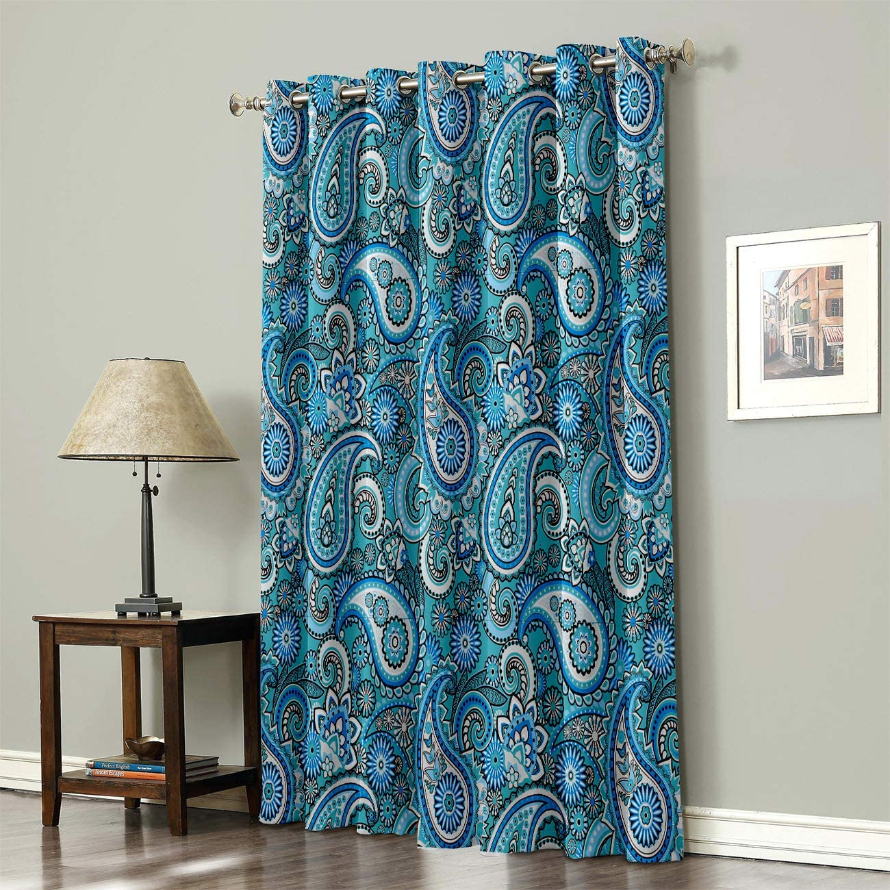 Fantasy Staring Thermal Insulated Blackout Curtain for Bed Room- Blue Floral Pattern Paisley Design Darkening Blackout Curtain with Grommet, 1 Panel 52 x 96