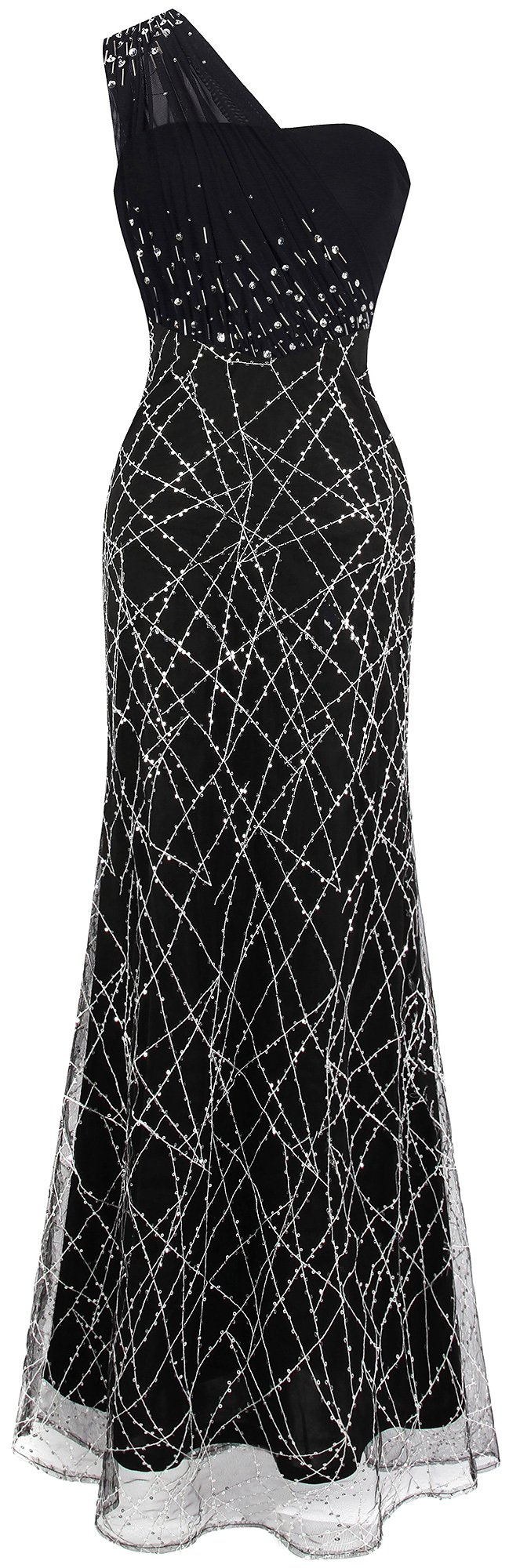 Angel-fashions Women's Ruched One Shoulder Beaded Long Black Evening Gown XXLarge