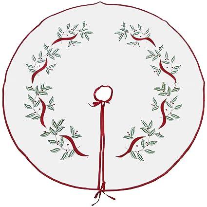"Violet Linen Decorative Christmas Embroidered Leaves Design Tree Skirt, 43"", White best Christmas tree skirts"