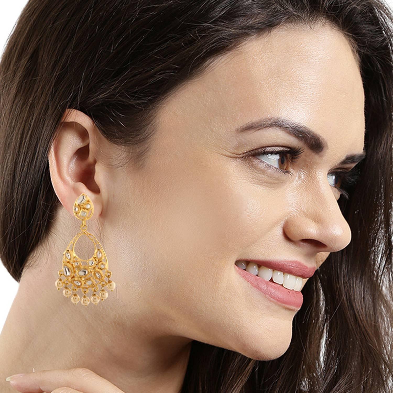 Efulgenz Indian Bollywood 14K Gold Plated Kundan Pearl Chandbali Chandelier Style Earrings Jewelry Set by Efulgenz (Image #3)