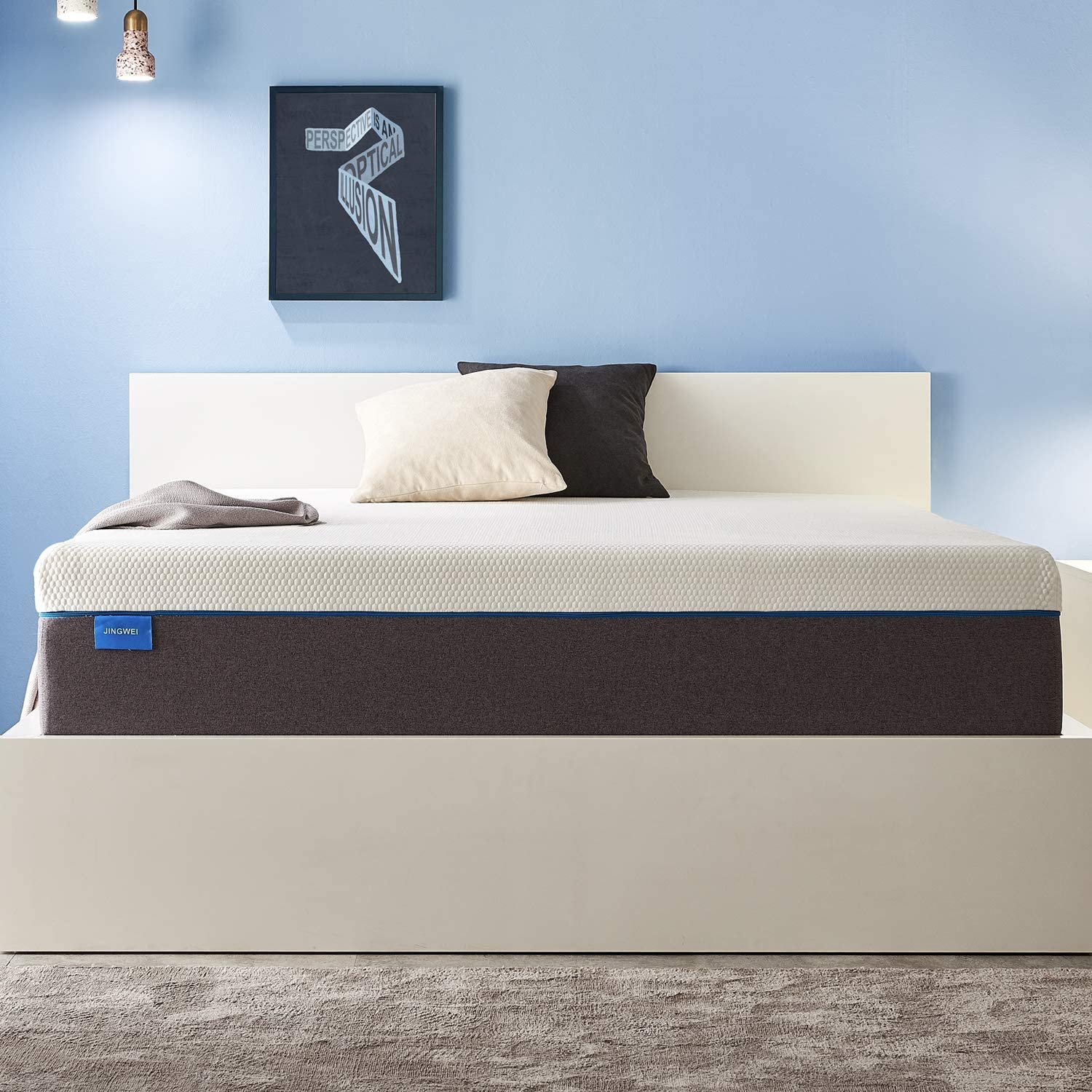 Queen Size Mattress, JINGWEI 7 Inches Cooling-Gel Memory Foam Mattress Bed in a Box, Certified Foam, Pressure Relief Supportive, Medium Firm