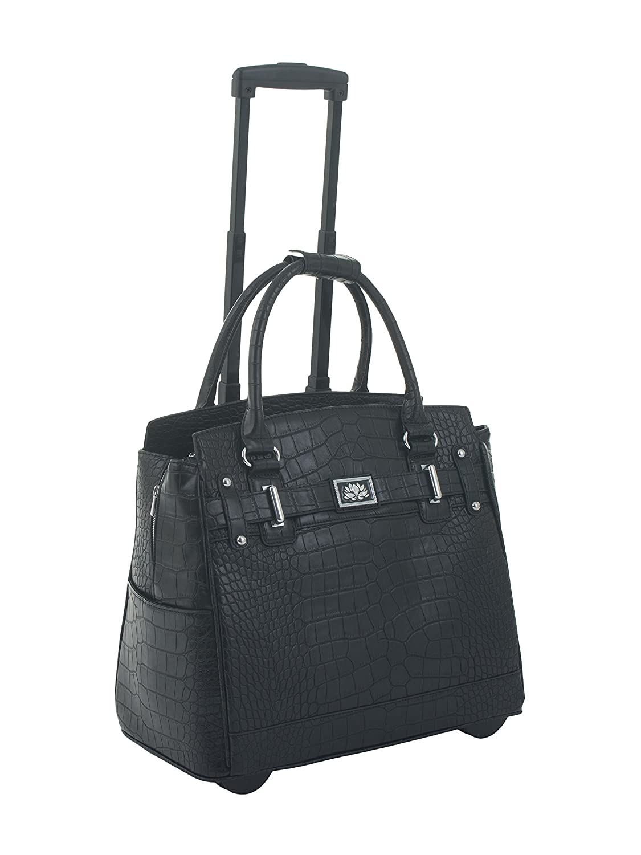 Sac noir faux alligator roulant pour ordinateur portable, mallette à roulettes, ou sac de Voyage avec des roues.