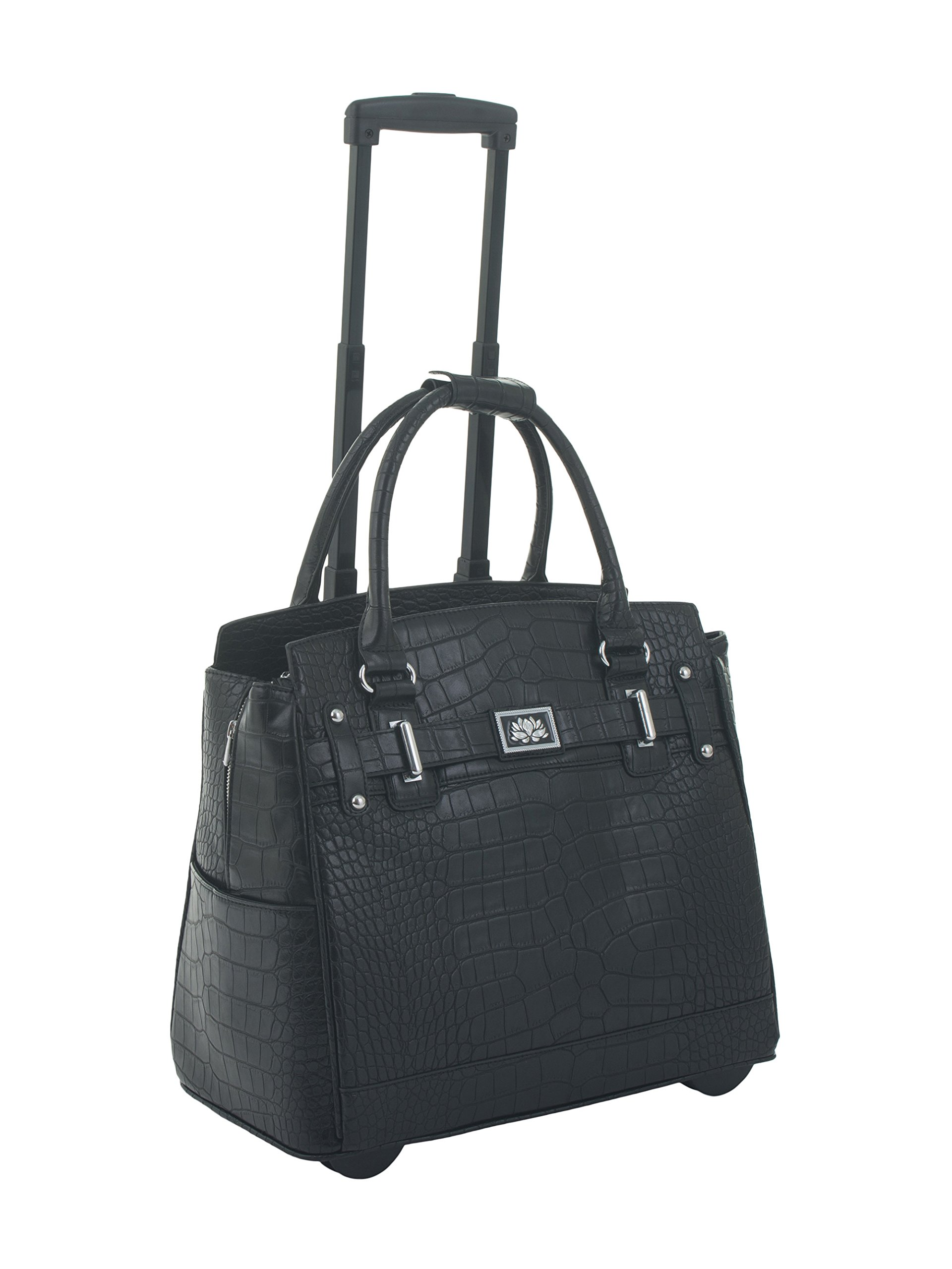 ''The Classic'' Black Alligator Crocodile Rolling iPad Tablet or Laptop Tote Carryall Bag by JKM and Company