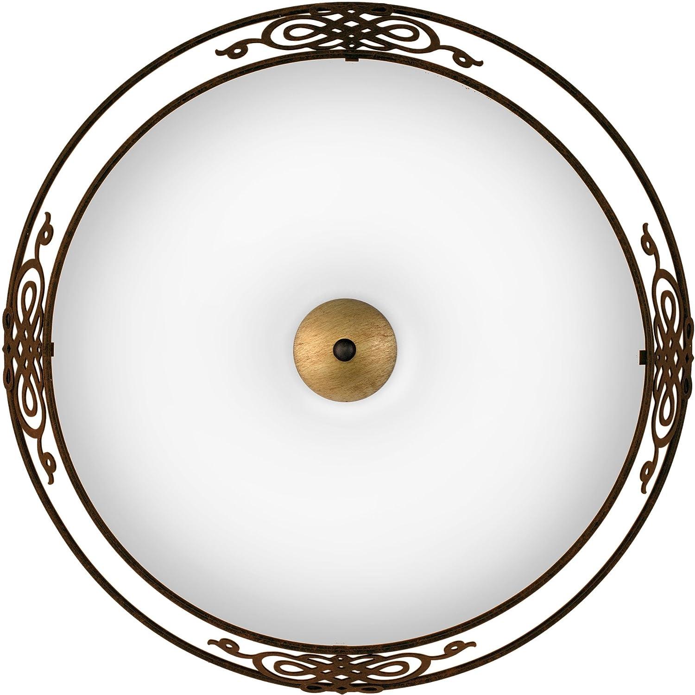 EGLO Wand Deckenleuchte Modell MESTRE Stahl Antik Braun Gold Glas