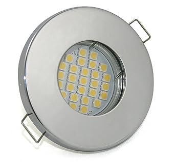 230v Bad Einbaustrahler Ip65 Farbe Chrom Gu10 Led 5w Für Nass Feuchträume Badezimmer