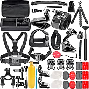 Neewer 50-In-1 Action Camera Accessory Kit for GoPro Hero Session/5 Hero 1 2 3 3+ 4 5 6 SJ4000 5000 6000 DBPOWER AKASO VicTsing APEMAN WiMiUS Rollei QUMOX Lightdow Campark And Sony Sports DV and More