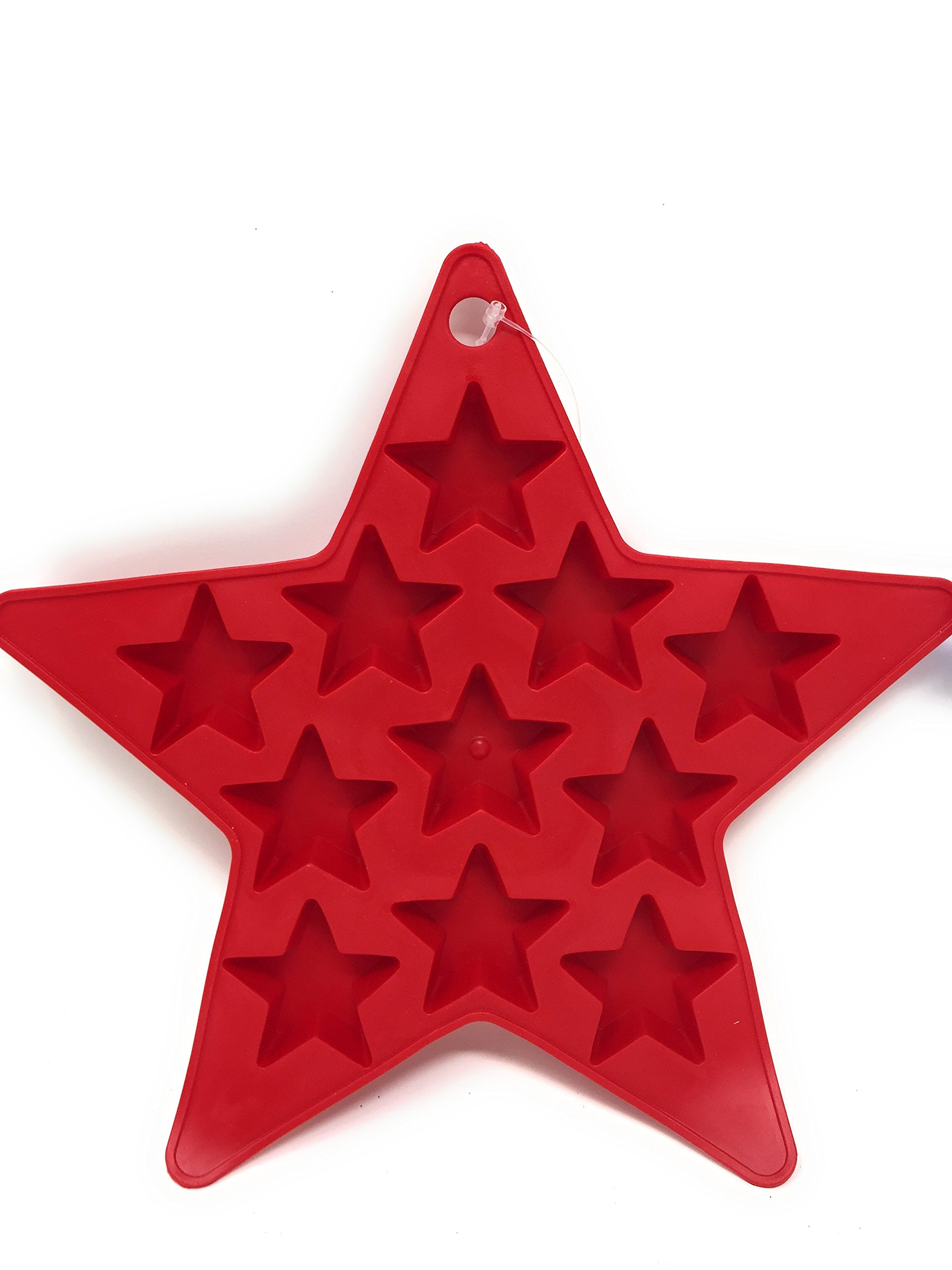 Patriotic Star Shaped Ice Cube Trays in Red and Blue (Set of 2) Makes 22 Star-Shaped Ice Cubes by Hobbeez (Image #2)