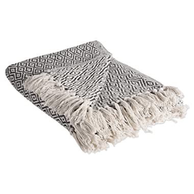 DII Rustic Farmhouse Cotton Diamond Blanket Throw with Fringe For Chair, Couch, Picnic, Camping, Beach, & Everyday Use , 50 x 60  - Fields of Diamond Mineral