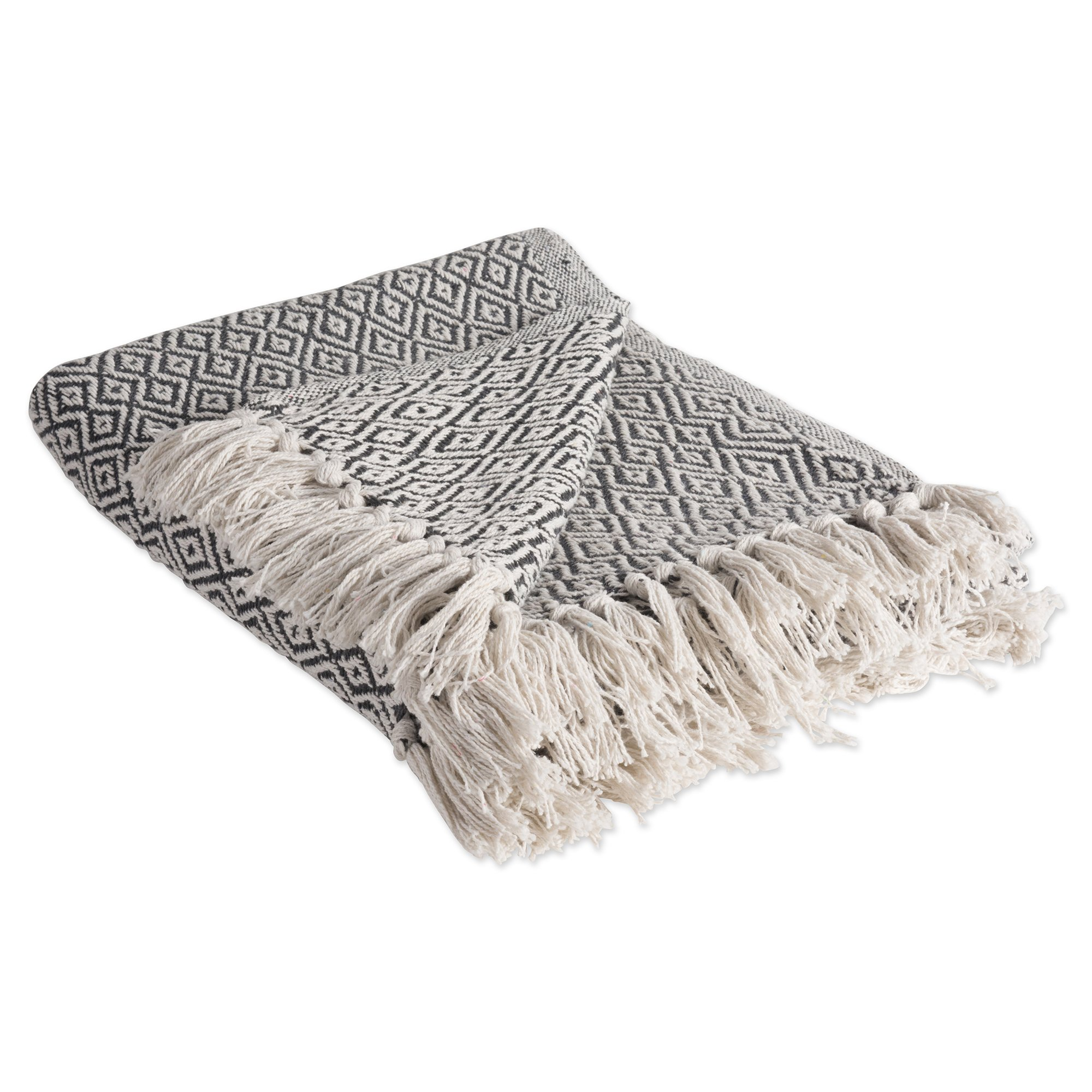 DII Rustic Farmhouse Cotton Diamond Blanket Throw with Fringe For Chair, Couch, Picnic, Camping, Beach, & Everyday Use , 50 x 60'' - Fields of Diamond Mineral