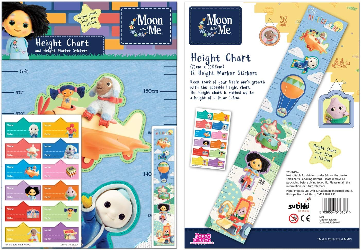 Paper Projects 01.70.36.001 Moon and Me Height Chart