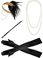 Zivyes 1920s accessories Headband Earrings Necklace Gloves Cigarette Holder Flapper Costume accessories Set For Women
